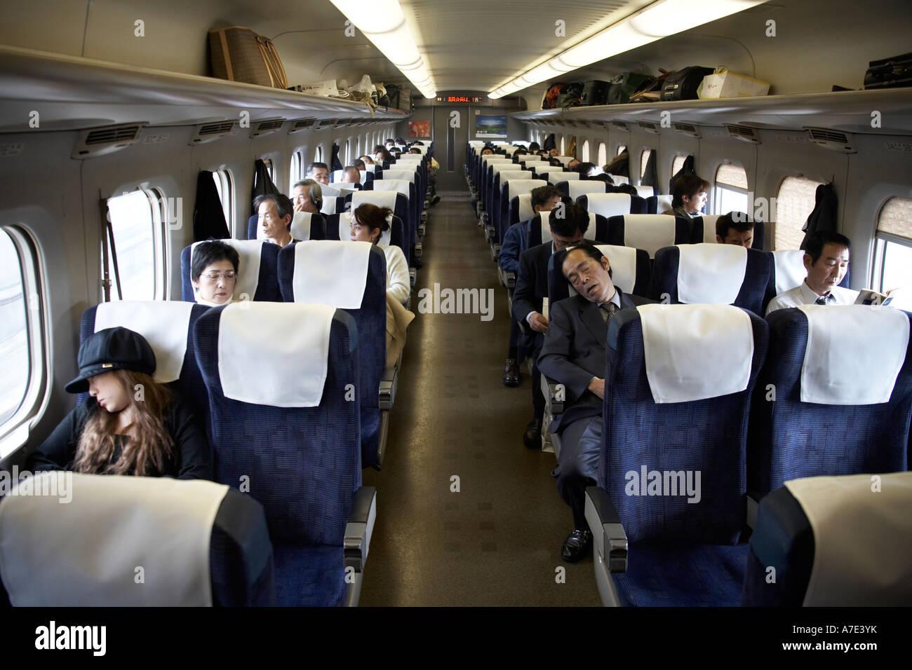 Japan Railways Shinkansen Super express Nozomi Bullet train interior Stock Photo 11811510  Alamy