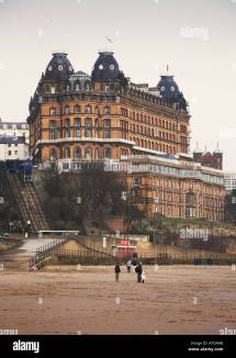 Grand Hotel Funicular Railway And Beach Winter Scarborough