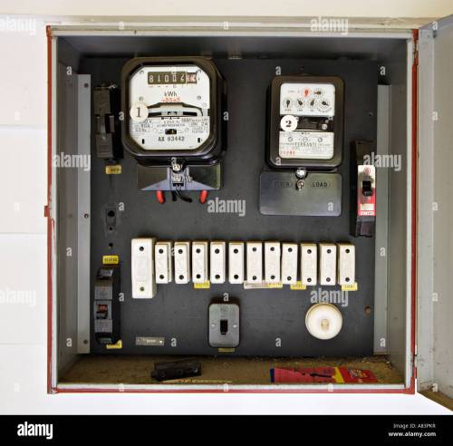small resolution of electricity meter in box with old style fuses circa 1962 in new zealand home