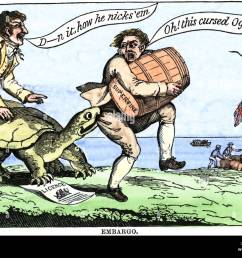 cartoon protesting the embargo act of us president thomas jefferson in 1807 hand colored [ 1300 x 1027 Pixel ]