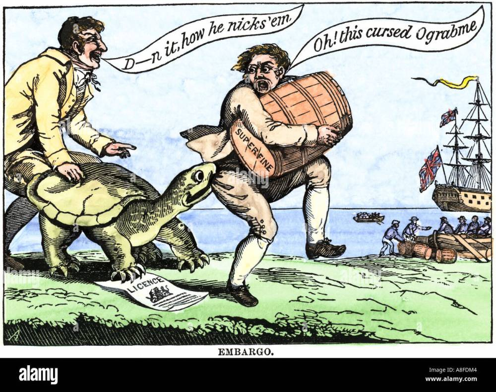 medium resolution of cartoon protesting the embargo act of us president thomas jefferson in 1807 hand colored