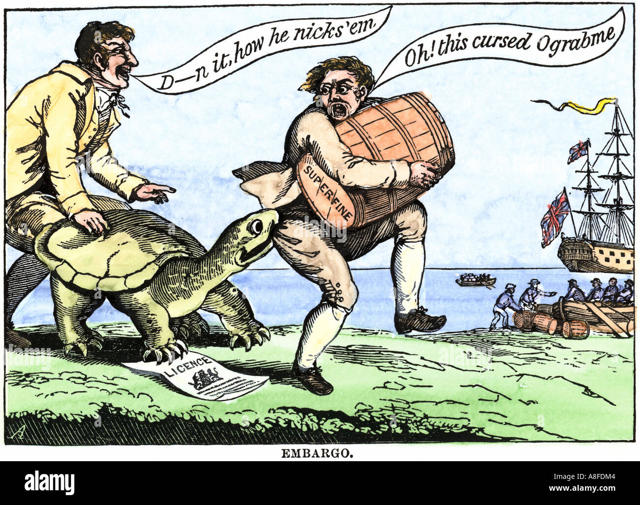 hight resolution of cartoon protesting the embargo act of us president thomas jefferson in 1807 hand colored