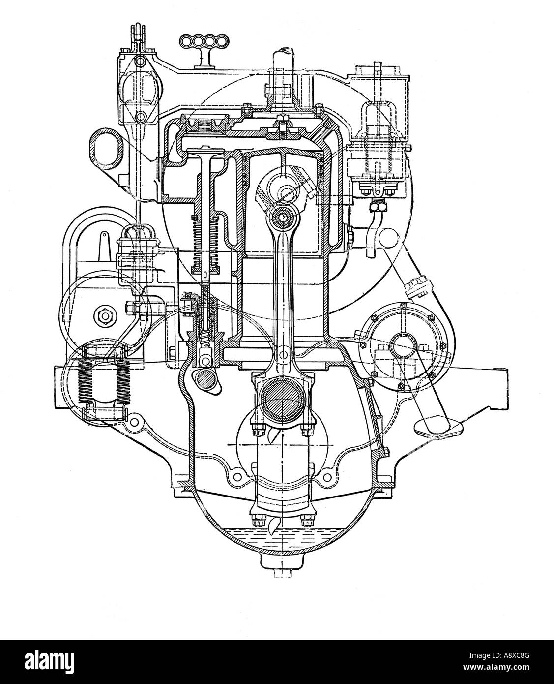 hight resolution of cross section diagram of siddeley four cylinder petrol engine