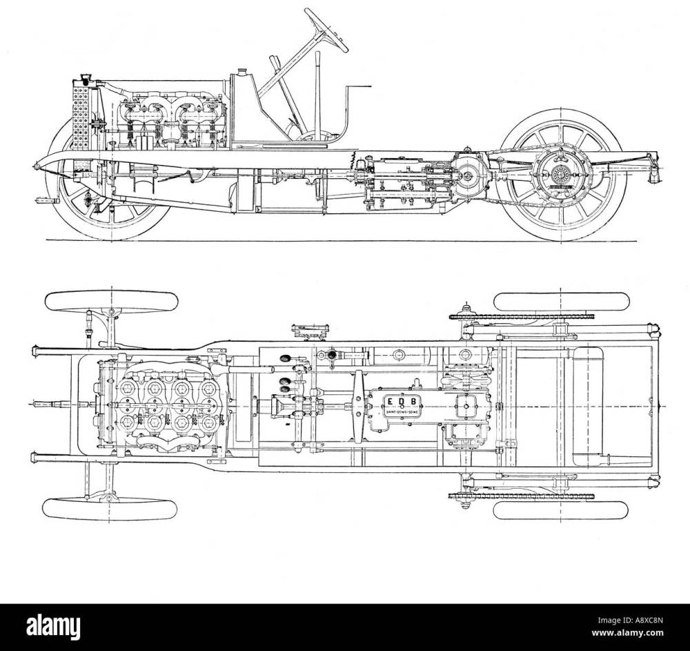 medium resolution of diagram of four cylinder petrol engine car chassis with chain drive stock image