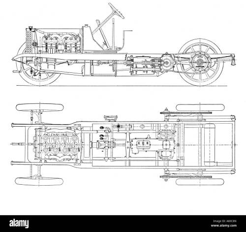 small resolution of diagram of four cylinder petrol engine car chassis with chain drive stock image