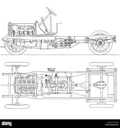 diagram of four cylinder petrol engine car chassis with cardan shaft drive stock image [ 1300 x 1314 Pixel ]