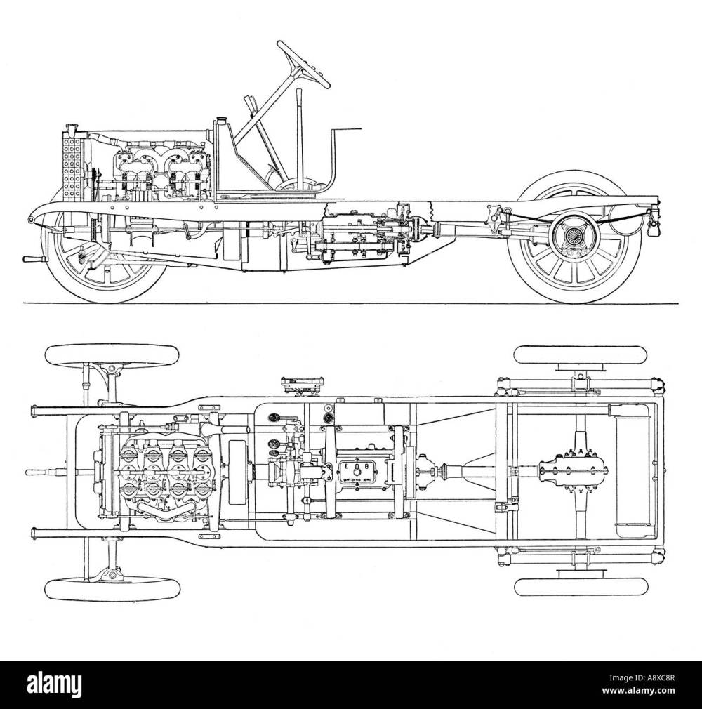 medium resolution of diagram of four cylinder petrol engine car chassis with cardan shaft drive stock image