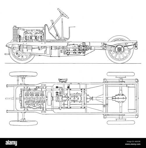small resolution of diagram of four cylinder petrol engine car chassis with cardan shaft drive stock image