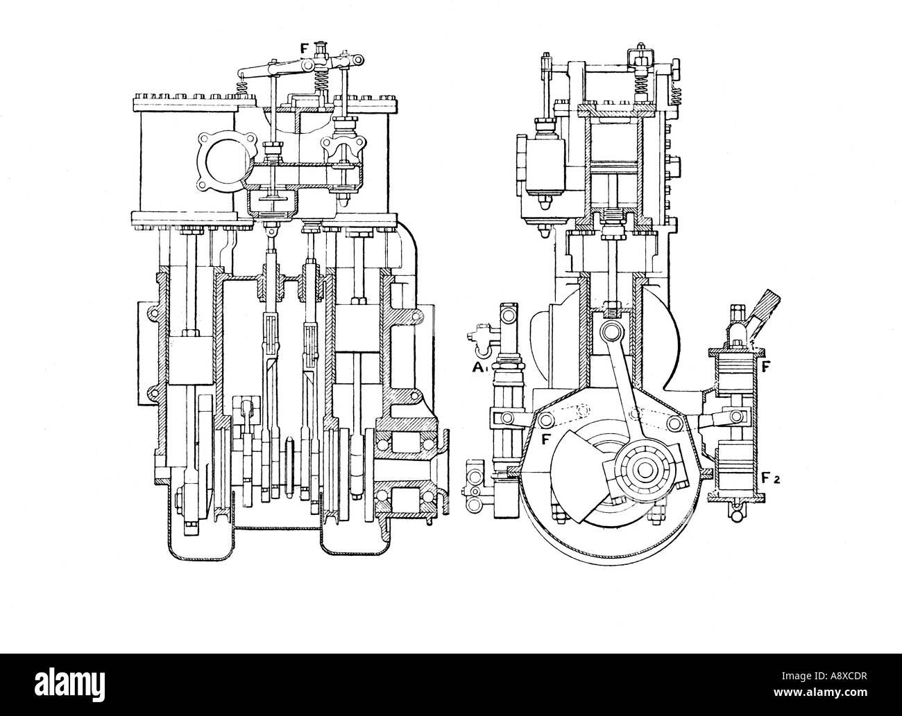 hight resolution of side and end sectional elevation diagrams of white 30 horse power steam car engine stock