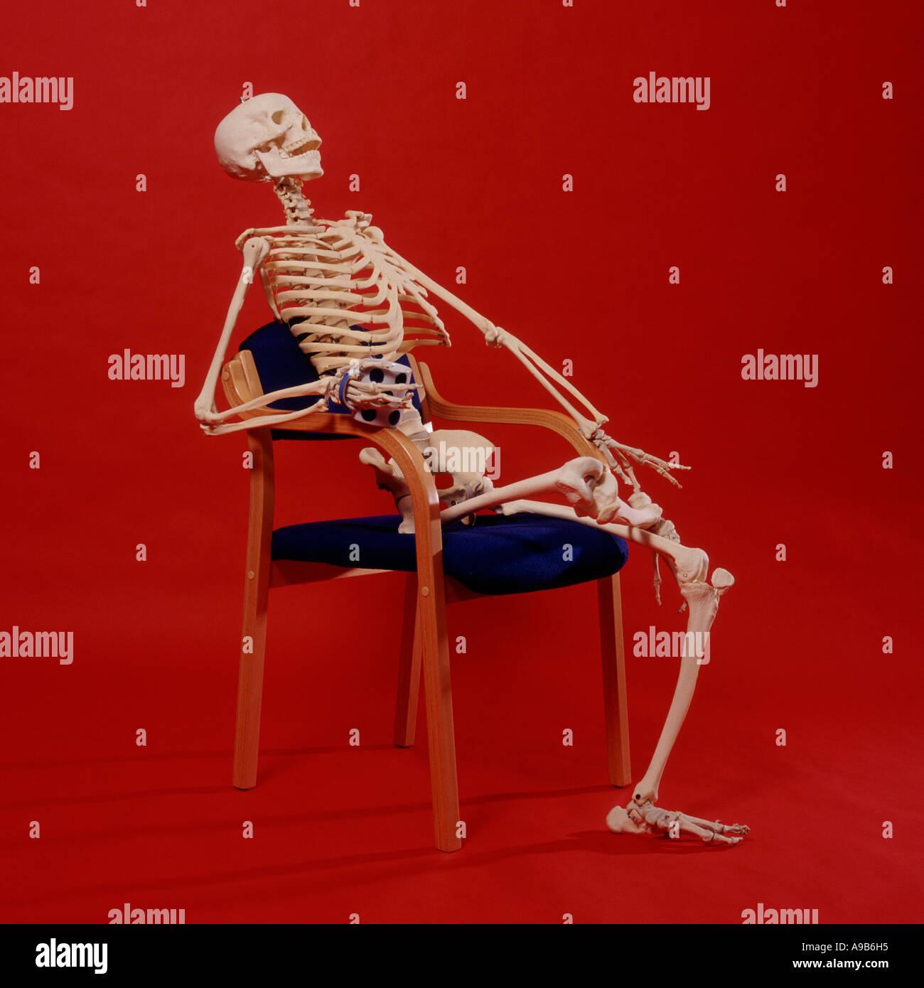 skeleton chair coffee sash ties sitting stock photos and