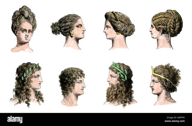 ancient greek hairstyles of women top row and men bottom row
