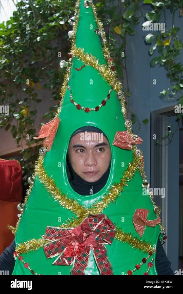 Man Wearing Christmas Tree Costume Stock Royalty