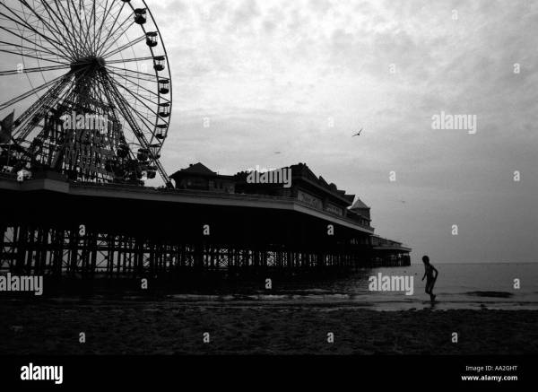 Blackpool Beach Black And White Stock & - Alamy