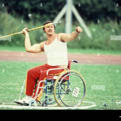 Wheelchair Olympics Target Folding Chair Outdoor Javelin Throwing From A Paraplegics Stoke Stock Mandeville Hospital England United Kingdom