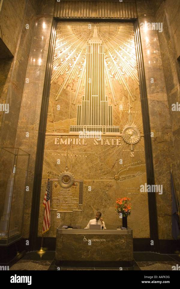 Empire State Building Interior Lobby With Stars And Stripes American Stock 12616275 - Alamy