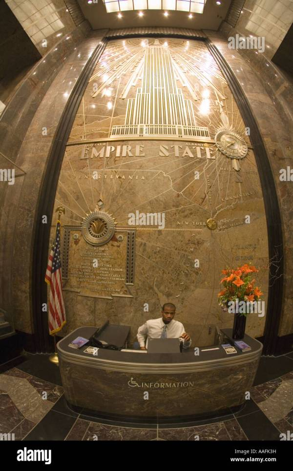 Empire State Building Interior Lobby With Stars And Stripes American Stock Royalty Free