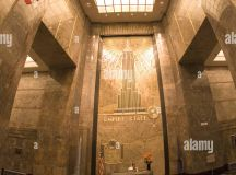 Empire State Building interior lobby with stars and ...