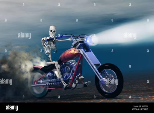 Skeleton Riding Motorcycle Stock Royalty Free