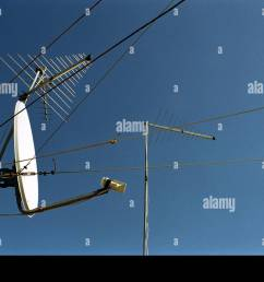 satellite dish receiver and aerials and cables and blue sky [ 1300 x 956 Pixel ]