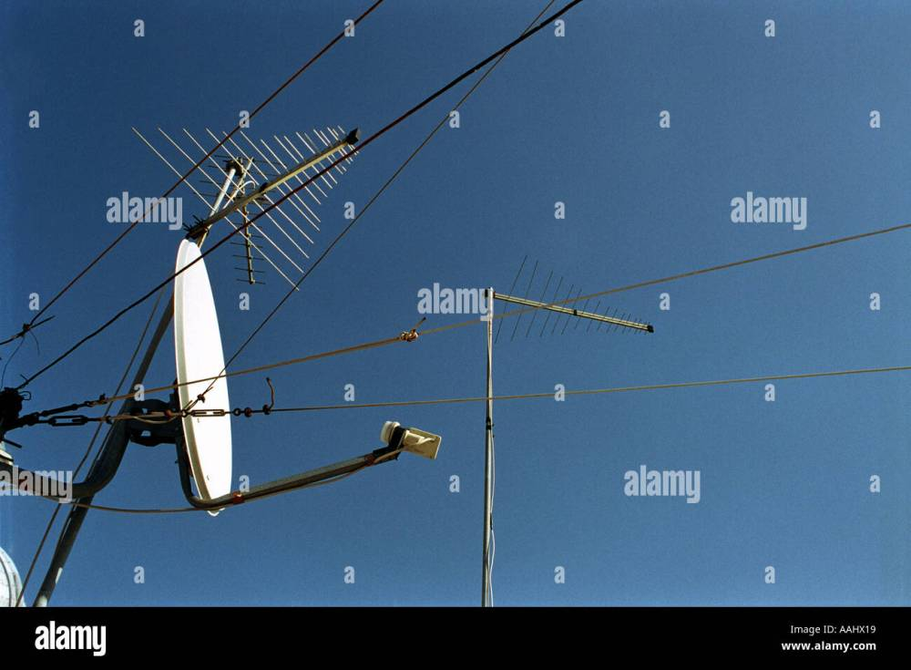 medium resolution of satellite dish receiver and aerials and cables and blue sky