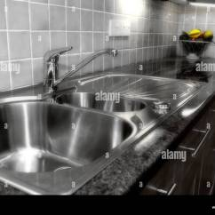 Kitchen Draining Board Paint Cabinets White Modern Sink Diffused Version Stock Photo