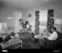 1950s FAMILY LIVING ROOM DAD NEWSPAPER MOTHER SEWING KIDS ...