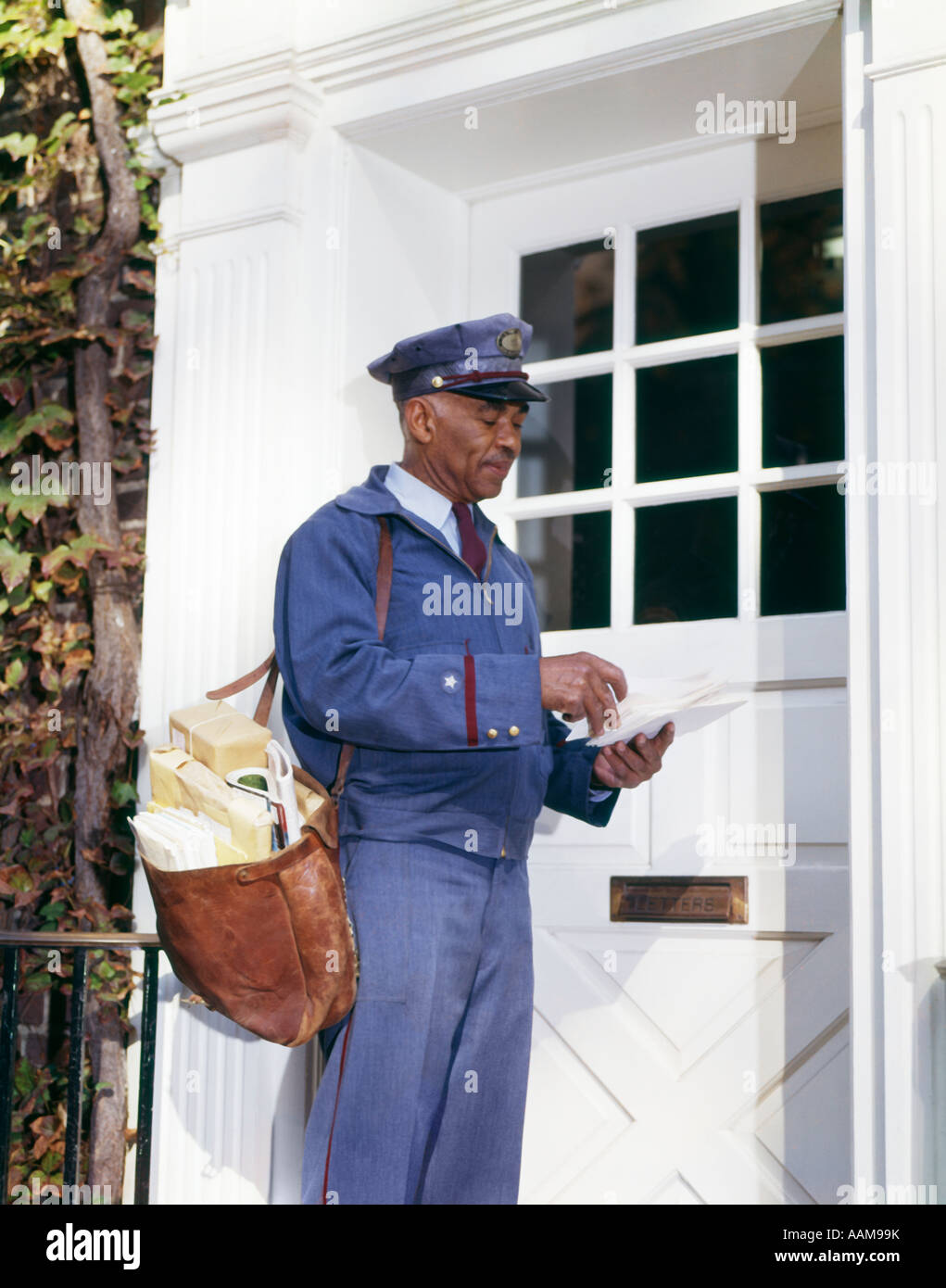 S African American Man Mailman Retro Carrying Mailbag
