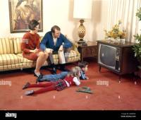 1960s FAMILY IN LIVING ROOM WATCHING TV FATHER MOTHER ...