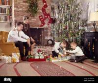 1960s FAMILY IN LIVING ROOM CHRISTMAS TREE BOYS PLAYING ...