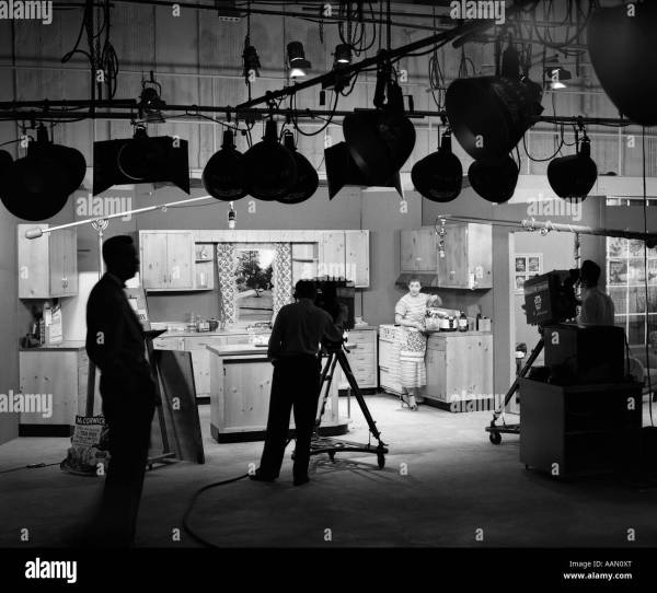 1950s Scenes Of Filming Cooking Show Stock