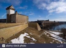 Estonia Narva Ivangorod Fortress Stock &