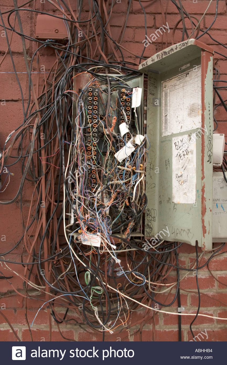 medium resolution of messy telephone wiring wiring diagram usedold telephone junction box stock photos u0026 old telephone junction