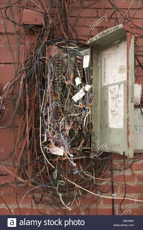 small resolution of messy telephone wiring wiring diagram usedold telephone junction box stock photos u0026 old telephone junction