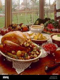 Thanksgiving Table Setting Turkey Dinner Stock Photo ...