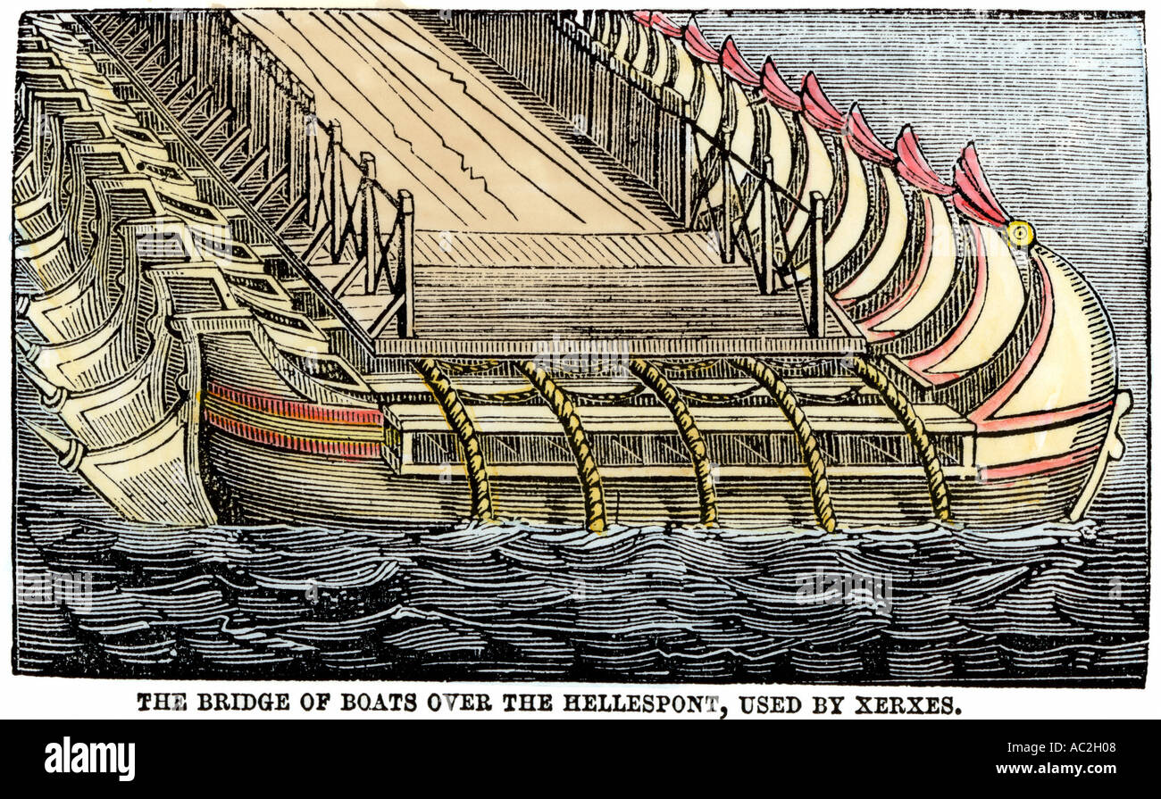 Bridge Of Boats For Xerxes Persian Army To Cross The