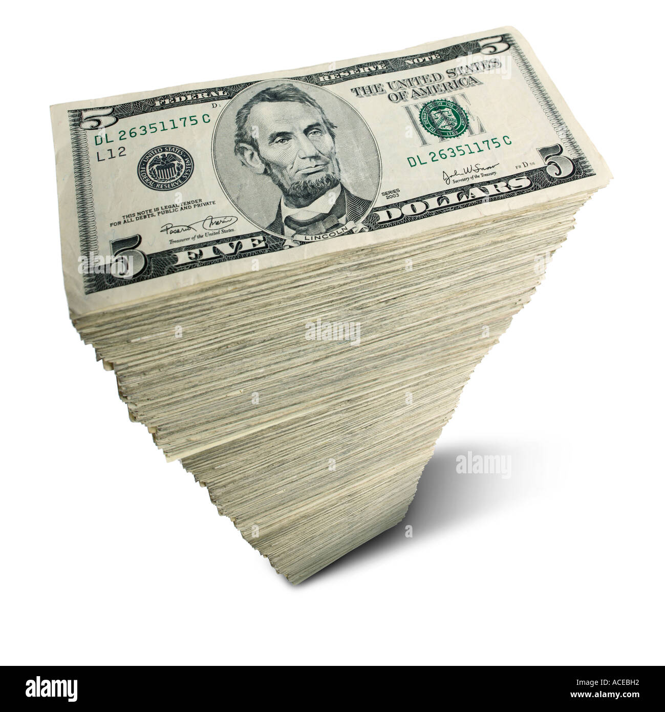 Stack Of Us 5 Dollar Bills Stock Photo