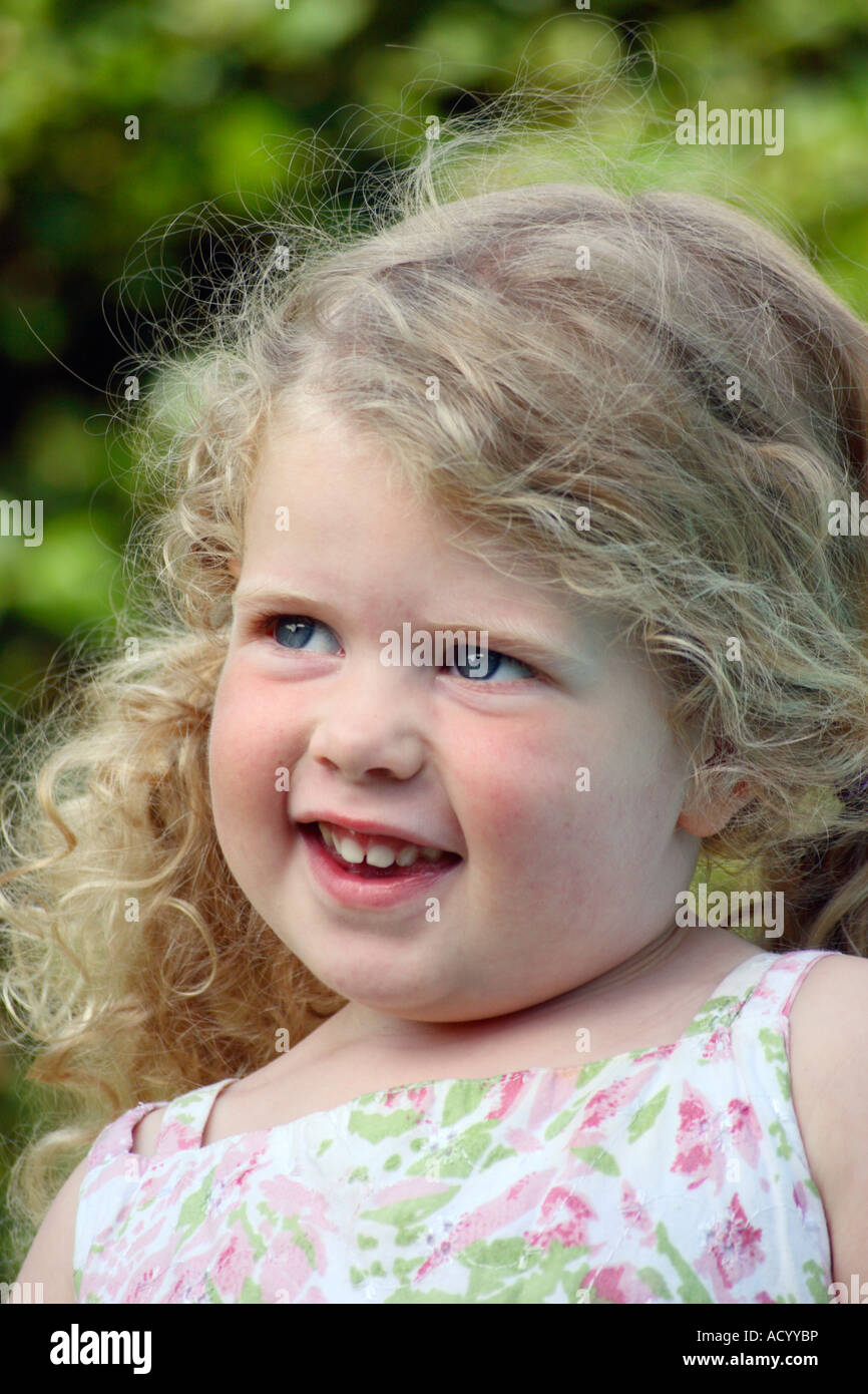 Cute 3 Year Old Girl With Blonde Hair Stock Photo
