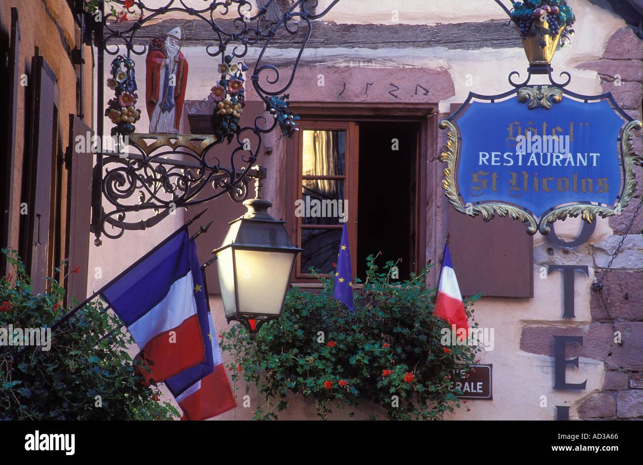 Hotel Restaurant St Nicolas Riquewihr Alsace France Stock