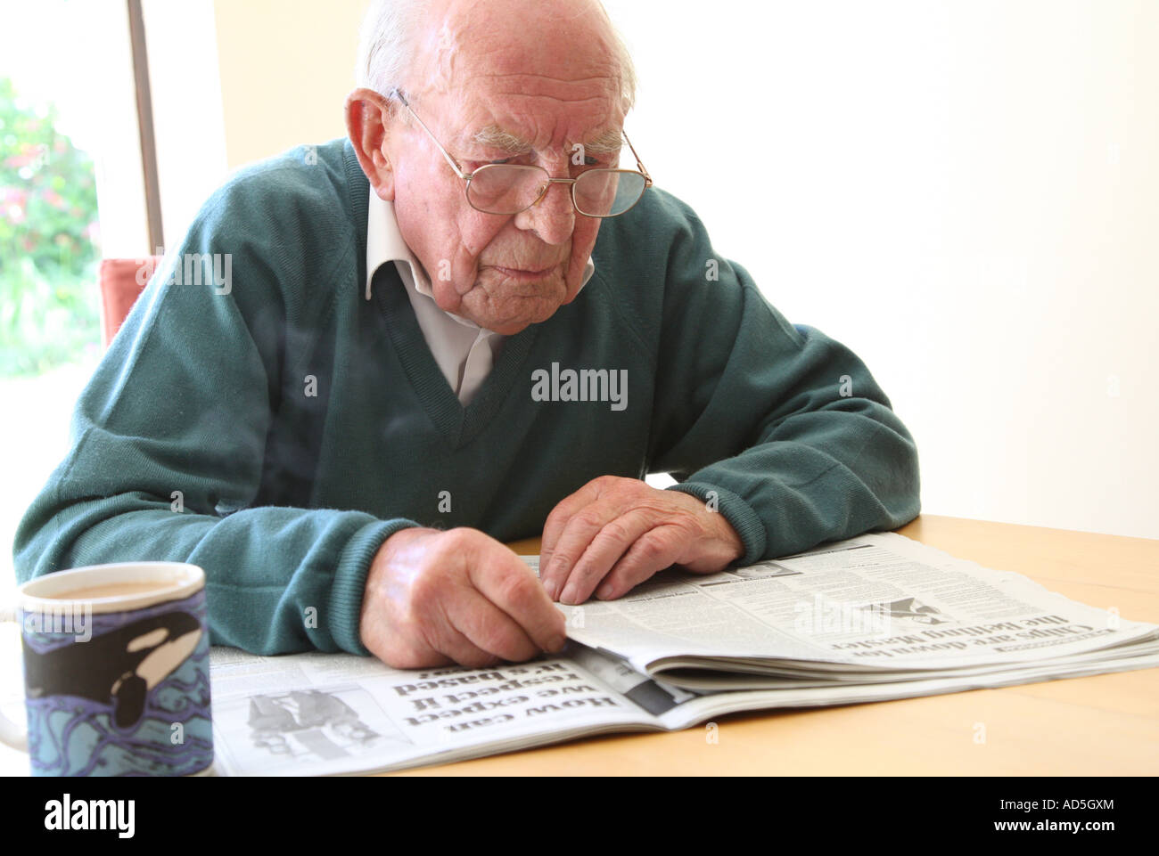 Old Man Reading Newspaper Stock Photo Royalty Free Image