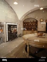 Large Edwardian basement kitchen with vaulted ceiling and ...