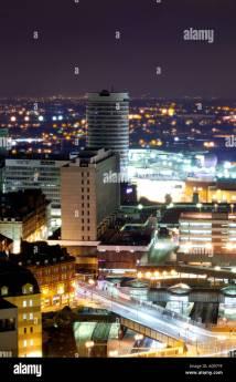 Birmingham City Centre Skyline Night Showing Famous