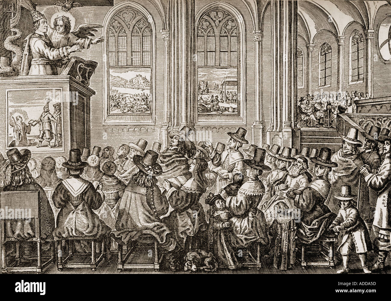 Oliver Cromwell Preaching To A Puritan Congregation Stock Photo Royalty Free Image
