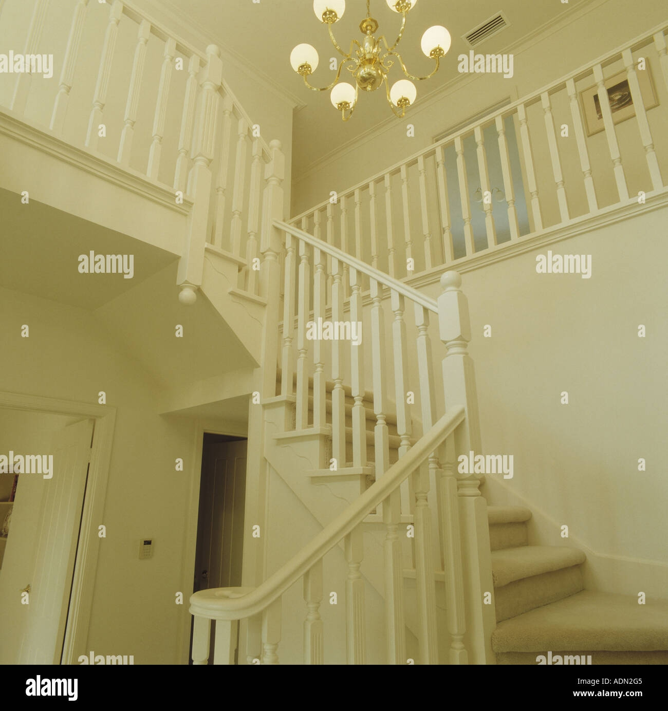White Painted Staircase With White Carpet In Traditional White | White Stairs With Carpet | Black | Chic | Victorian Staircase Carpet | Hardwood | Pinstripe Grey