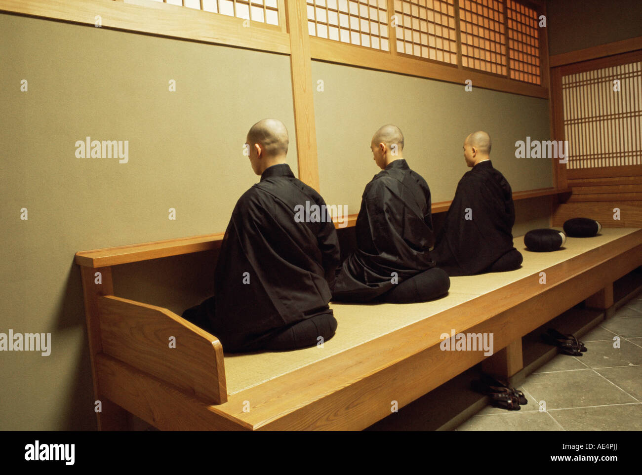 Monks During Za Zen Meditation In The Zazen Hall Elheiji