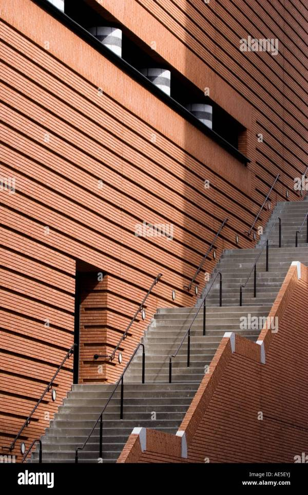 Staircase Side Red Brick Wall Of San Francisco Museum Modern Stock Royalty Free