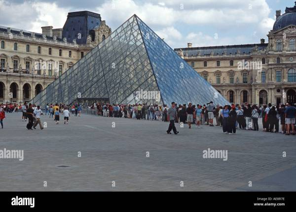 Louvre Pyramid Above Stock & - Alamy