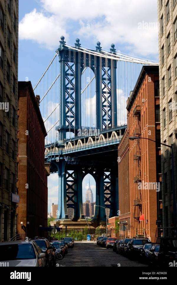 Picture Empire State Building Manhattan Bridge Dumbo