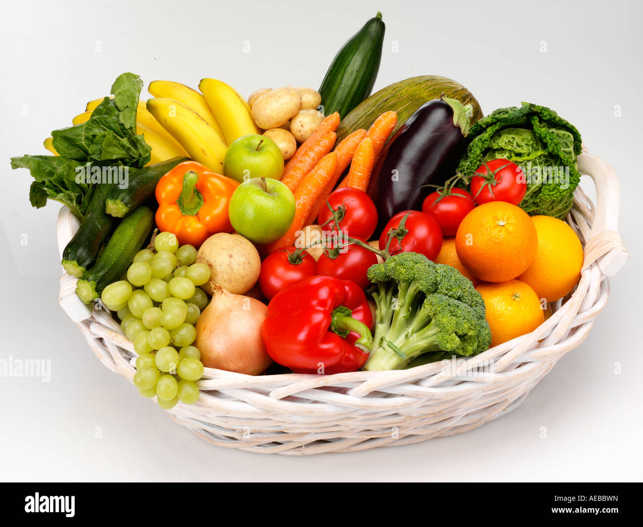 Basket Of Fresh Fruit And Vegetables Cut Out Stock Photo