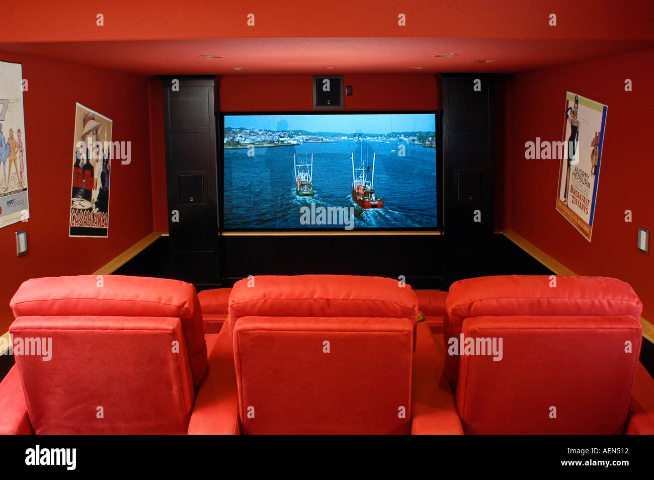 Reclining Chair Movie Theater Luxury Home Movie Theater And Screen Red Recliner Chairs Stock