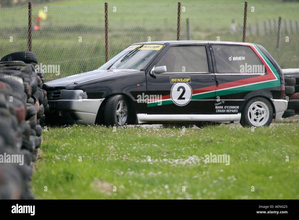 medium resolution of fiat uno racing accident into tyre wall tire at kirkistown circuit county down northern ireland